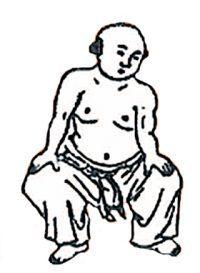 Kalender: Zeichnung eines Chinesen beim Qigong
