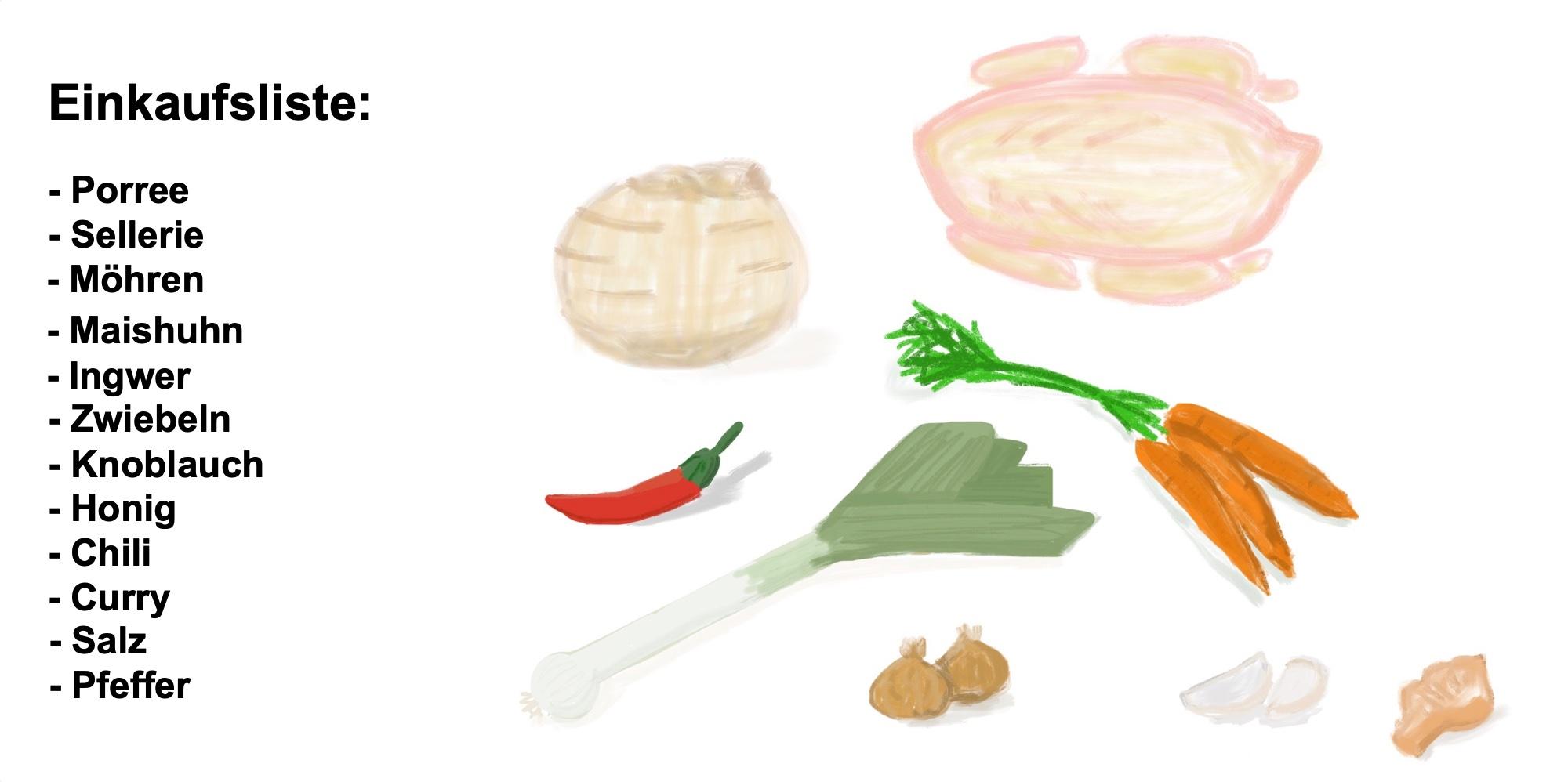 Heiße Hühnersuppe heilt, Einkaufsliste