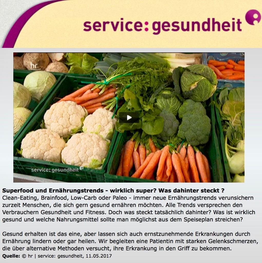 """Durch passende Ernährung lassen sich sogar Gelenkschmerzen nachhaltig lindern: Beitrag mit Dr. med. Julia Kleinhenz bei """"service:gesundheit"""" des hr-Fernsehens"""